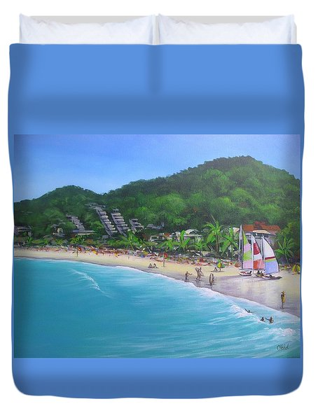 Noosa Fun Acrylic Painting Duvet Cover by Chris Hobel