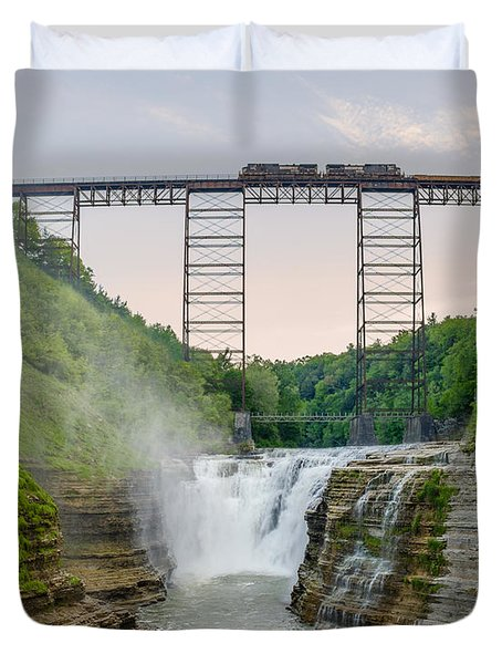 Norfolk Southern Over Letworth Upper Falls Duvet Cover