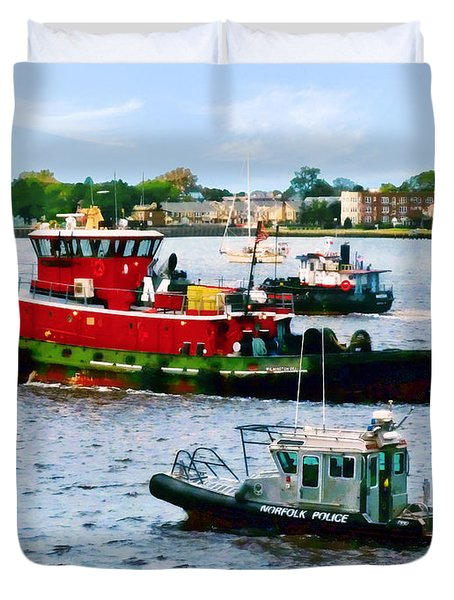 Norfolk Va - Police Boat And Two Tugboats Duvet Cover