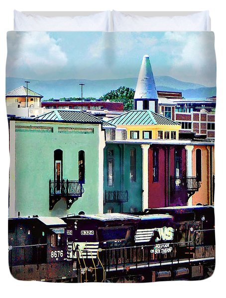 Norfolk Va - Train With Two Locomotives Duvet Cover