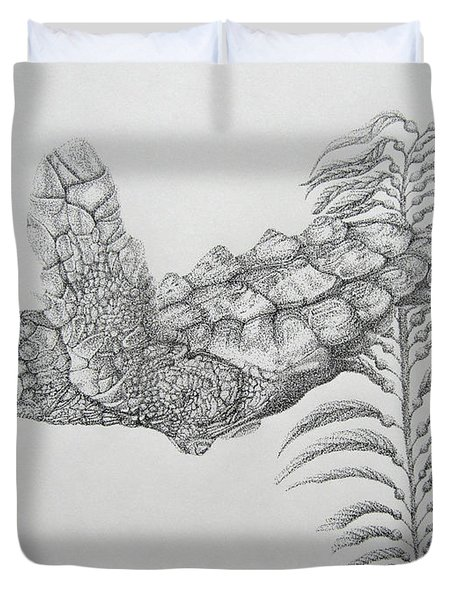 Duvet Cover featuring the drawing Norman by Mayhem Mediums