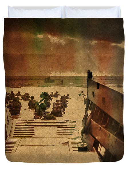 Normandy Beach On Dday World War Two Watercolor Tinted Historical Photograph On Worn Canvas Duvet Cover
