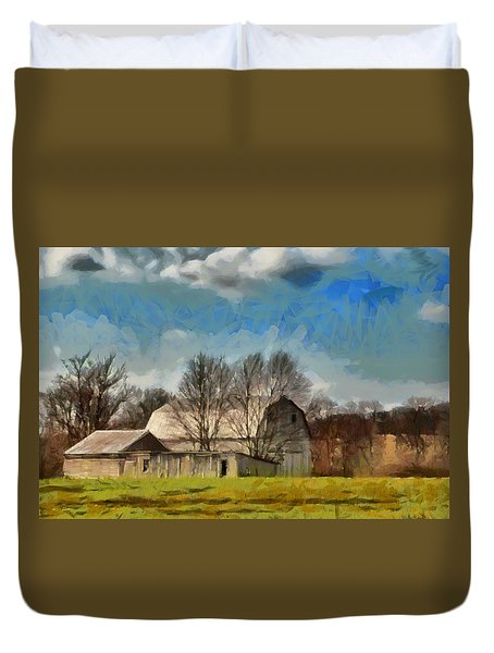 Duvet Cover featuring the mixed media Norman's Homestead by Trish Tritz