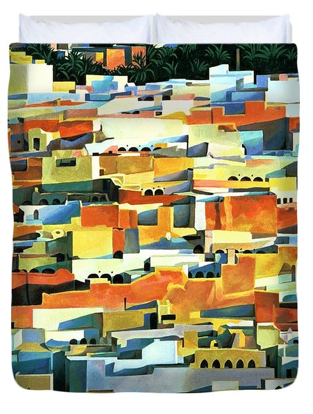 North African Townscape Duvet Cover by Robert Tyndall