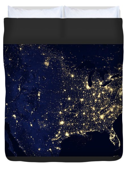 North America At Night Duvet Cover by Happy Home Artistry