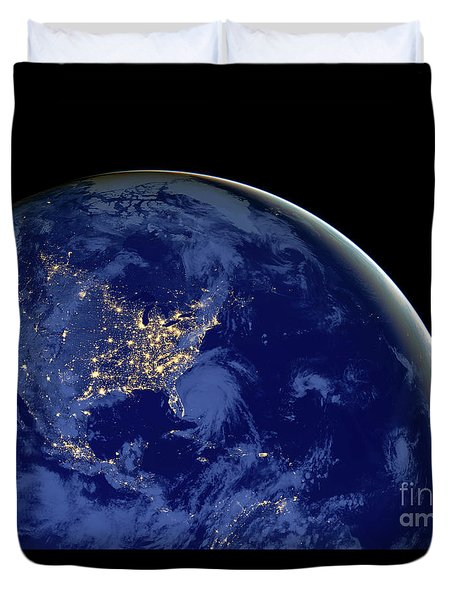 Duvet Cover featuring the photograph North America From Space by Delphimages Photo Creations