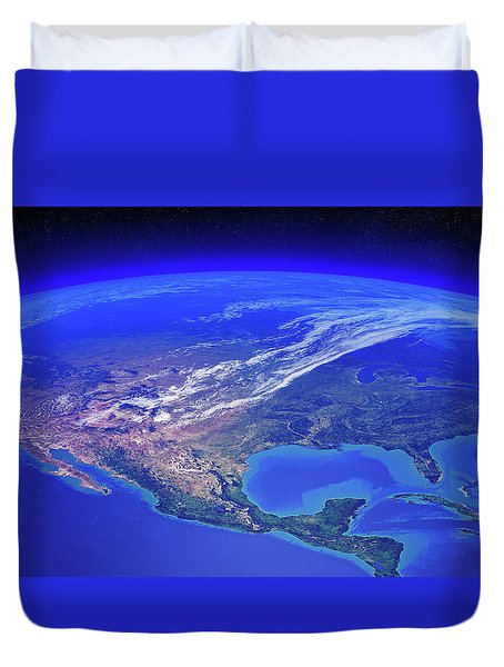 North America Seen From Space Duvet Cover