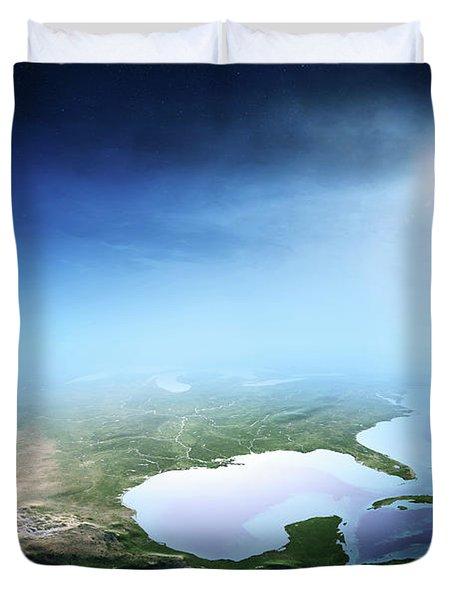 North America Sunrise Aerial View Duvet Cover