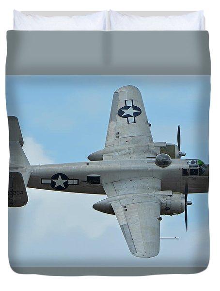 Duvet Cover featuring the photograph North American B-25j Mitchell N9856c Pacific Princess Chino California April 30 2016 by Brian Lockett