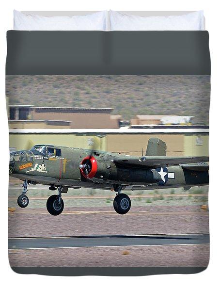 Duvet Cover featuring the photograph North American B-25j Mitchell Nl3476g Tondelayo Deer Valley Arizona April 13 2016 by Brian Lockett
