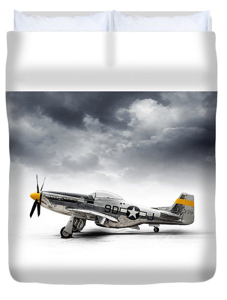 Duvet Cover featuring the digital art North American P-51 Mustang by Douglas Pittman
