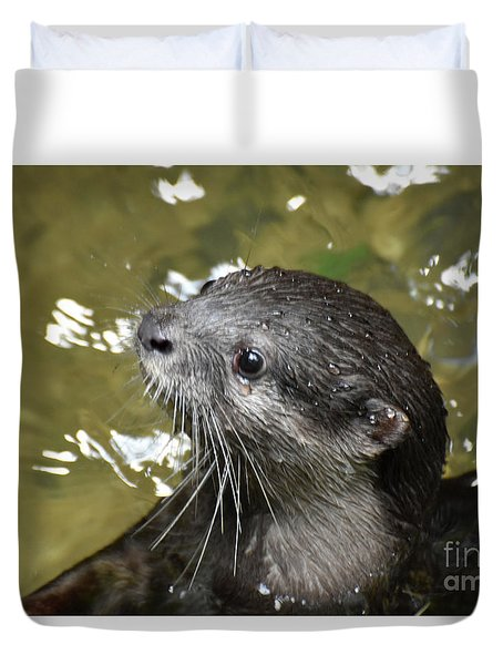 North American River Otter Swimming In A River Duvet Cover