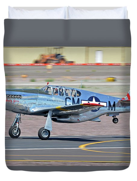 Duvet Cover featuring the photograph North American Tp-51c-10 Mustang Nl251mx Betty Jane Deer Valley Arizona April 13 2016 by Brian Lockett