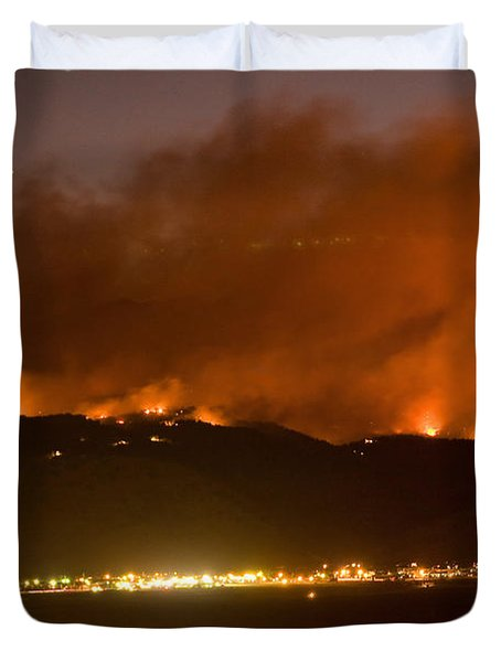North Boulder Colorado Fire Above In The Hills Duvet Cover by James BO  Insogna
