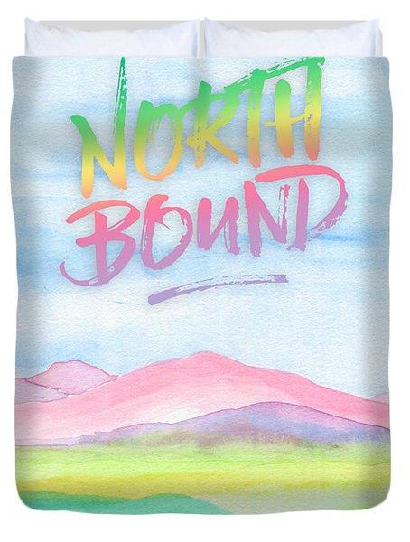 North Bound Pink Purple Mountains Watercolor Painting Duvet Cover