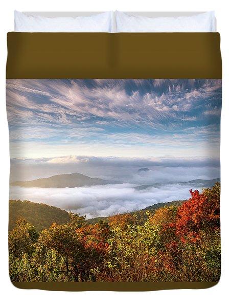 North Carolina Autumn Sunrise Blue Ridge Parkway Fall Foliage Nc Mountains Duvet Cover