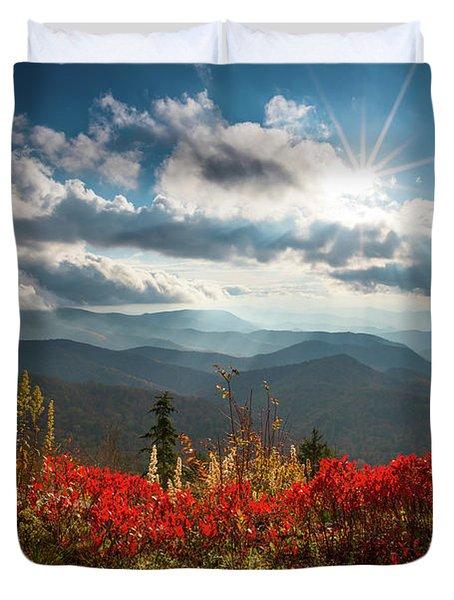 North Carolina Blue Ridge Parkway Scenic Landscape In Autumn Duvet Cover