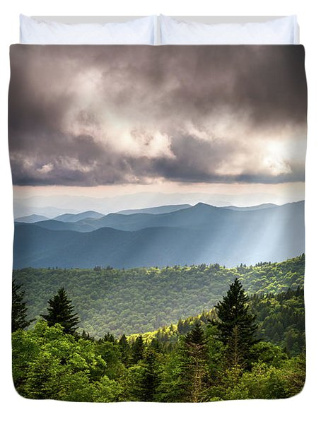 North Carolina Blue Ridge Parkway Scenic Mountain Landscape Duvet Cover