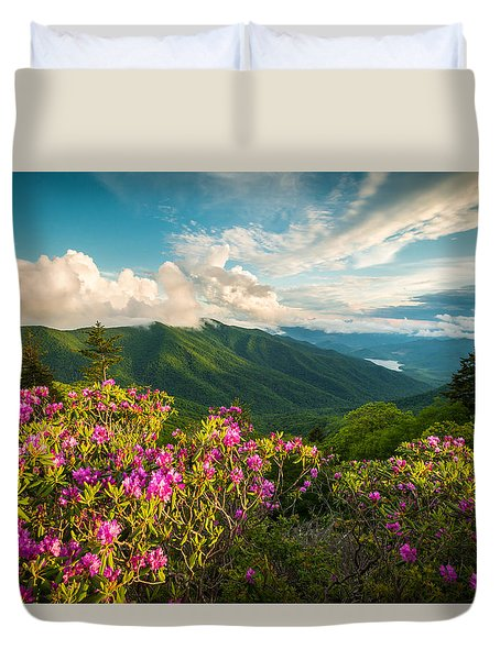 North Carolina Blue Ridge Parkway Spring Mountains Scenic Landscape Duvet Cover