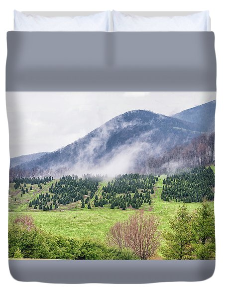 North Carolina Christmas Tree Farm Duvet Cover