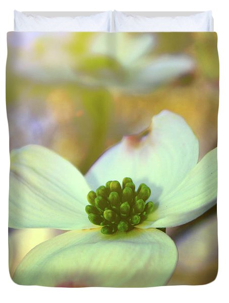 North Carolina Dogwood State Flower Duvet Cover by Gray  Artus