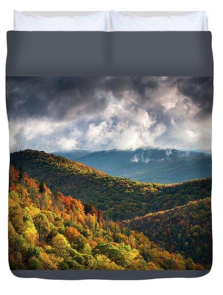 North Carolina Mountains Asheville Nc Autumn Sunrise Duvet Cover