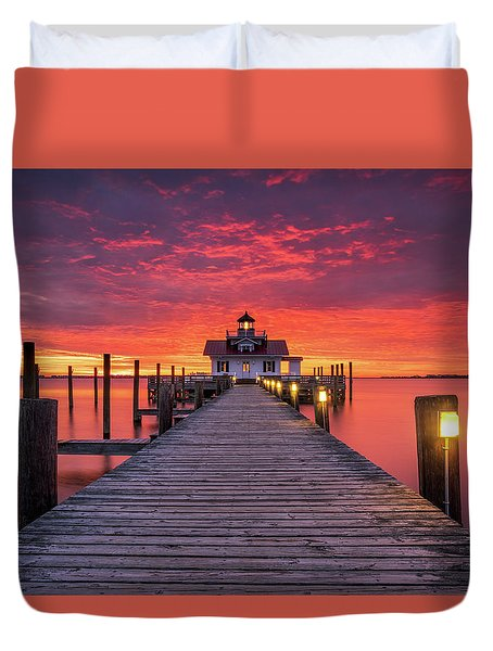 North Carolina Outer Banks Manteo Lighthouse Obx Nc Duvet Cover