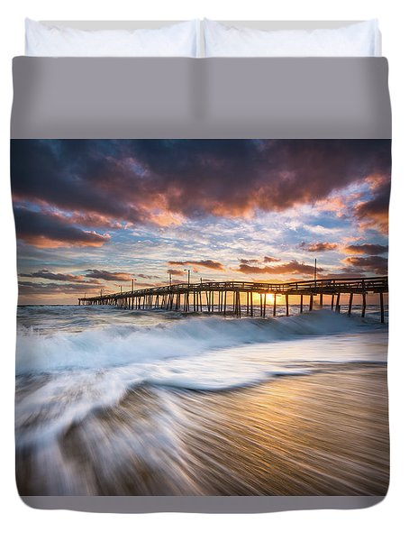 North Carolina Outer Banks Seascape Nags Head Pier Obx Nc Duvet Cover