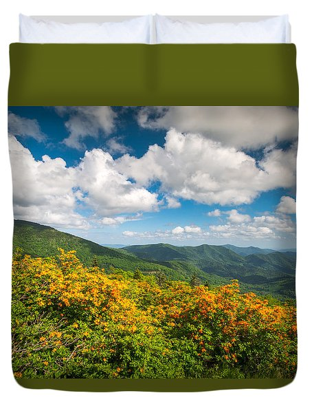North Carolina Roan Mountain Flame Azalea Flowers Appalachian Trail Duvet Cover
