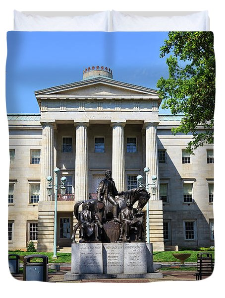 North Carolina State Capitol Building With Statue Duvet Cover