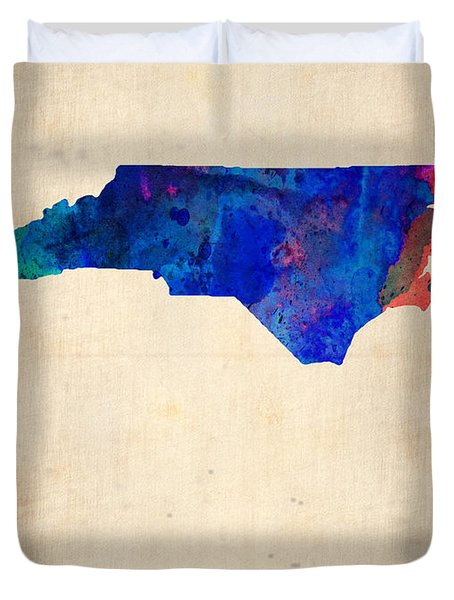 North Carolina Watercolor Map Duvet Cover by Naxart Studio