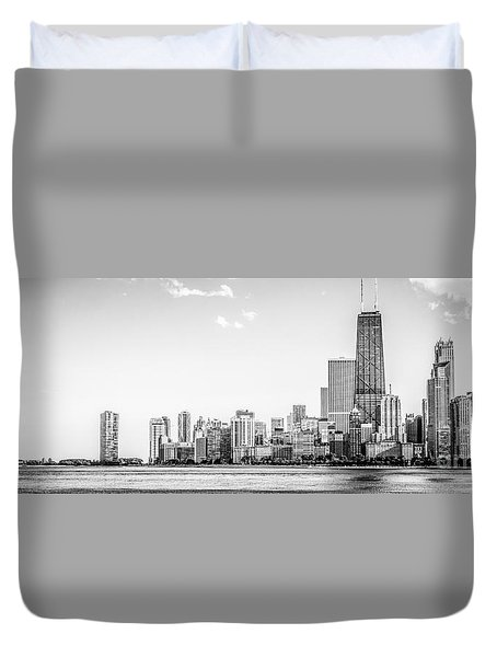 North Chicago Skyline Panorama In Black And White Duvet Cover by Paul Velgos