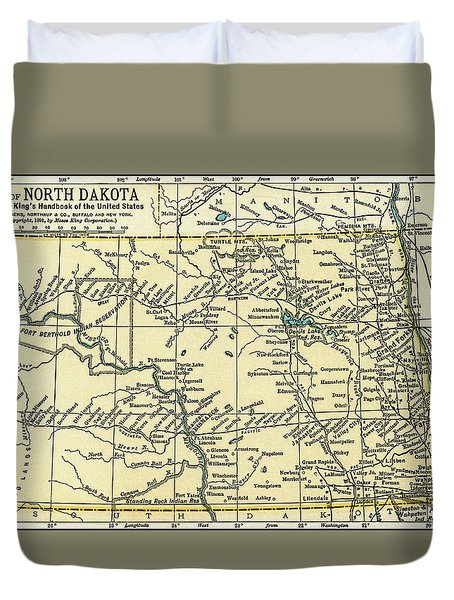 North Dakota Antique Map 1891 Duvet Cover