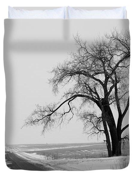 North Dakota Scenic Highway Duvet Cover by Bob Mintie