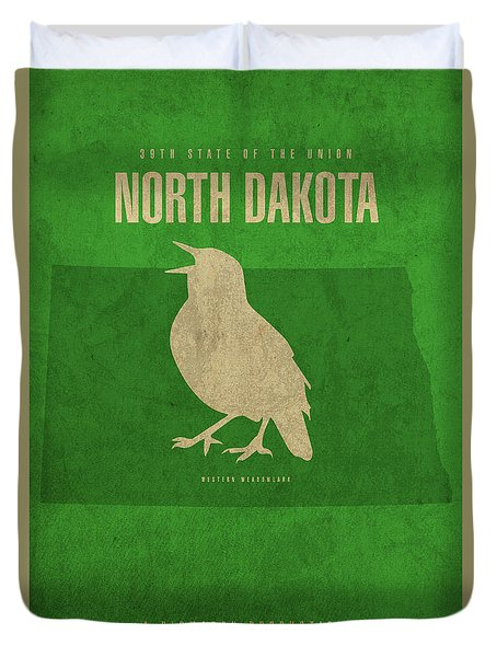 North Dakota State Facts Minimalist Movie Poster Art Duvet Cover by Design Turnpike