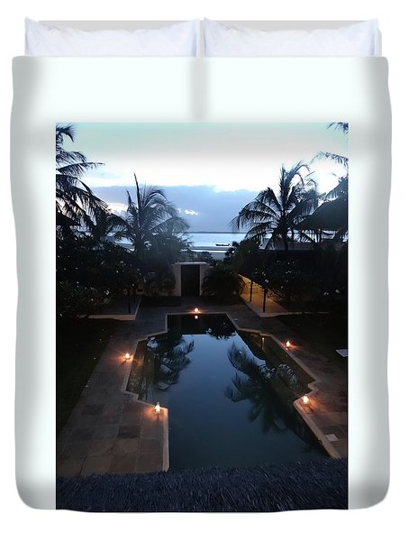 North - Eastern African Home - Sundown Over The Swimming Pool Duvet Cover by Exploramum Exploramum