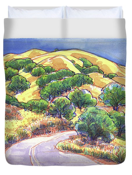 Duvet Cover featuring the painting North Gate Road, Mount Diablo by Judith Kunzle