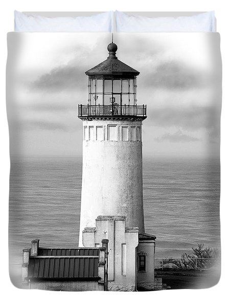 North Head Lighthouse Black And White Photograph Duvet Cover