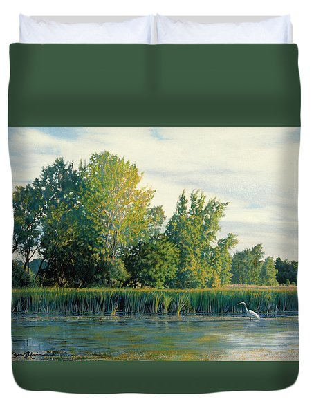 North Of The Grade-great Egret Duvet Cover