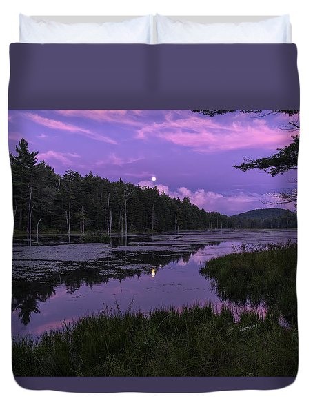 Duvet Cover featuring the photograph North Pond Blue Moon by Tom Singleton
