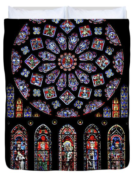 North Rose Window Of Chartres Cathedral Duvet Cover