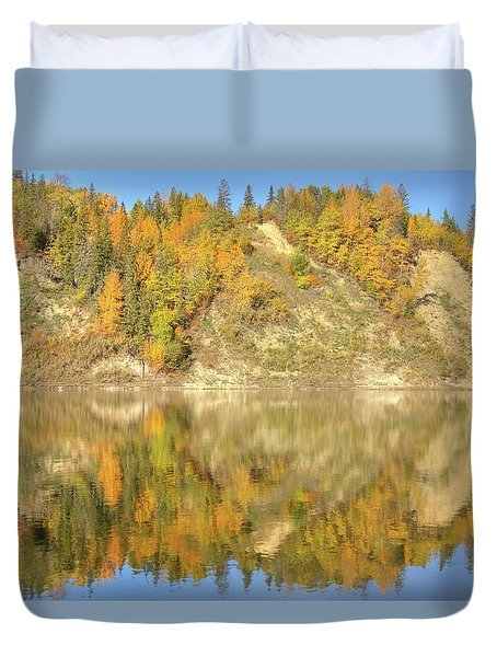 Duvet Cover featuring the photograph North Saskatchewan River Reflections by Jim Sauchyn