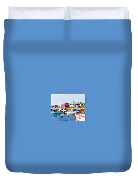 North Shore Art Association At Pirates Lane On Reed's Wharf From Beacon Marine Basin Duvet Cover by Melissa Abbott