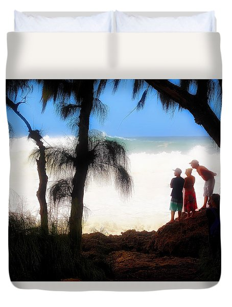 North Shore Wave Spotting Duvet Cover by Jim Albritton