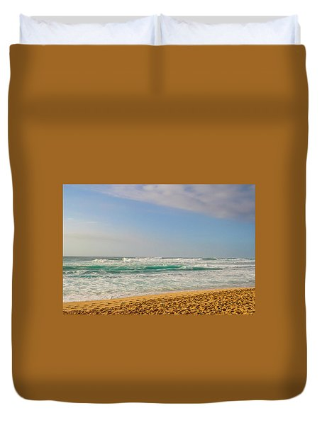 North Shore Waves In The Late Afternoon Sun Duvet Cover