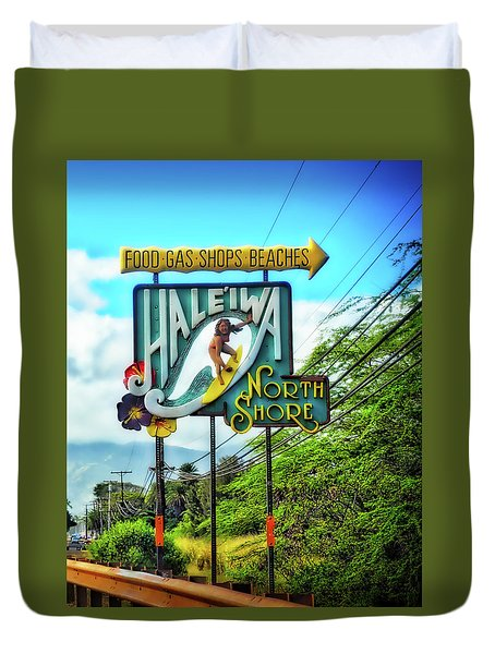 North Shore's Hale'iwa Sign Duvet Cover by Jim Albritton