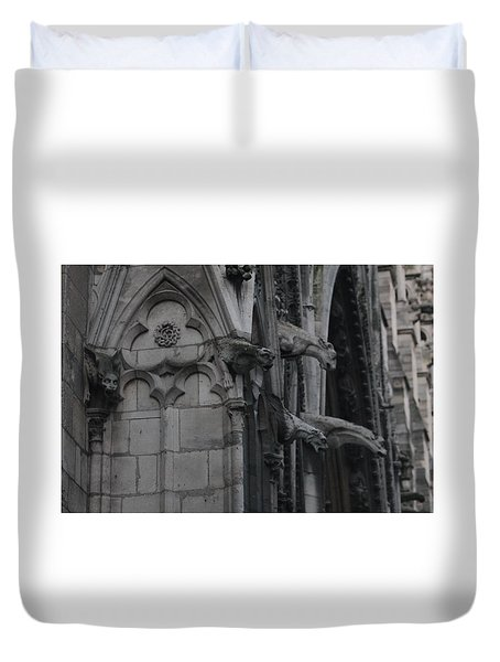Duvet Cover featuring the photograph North Side Notre Dame Cathedral by Christopher Kirby