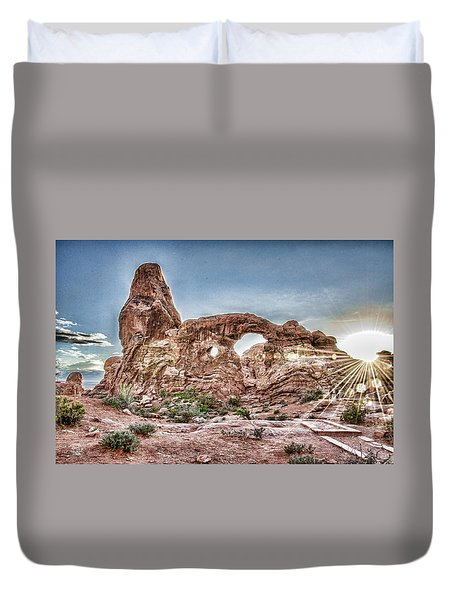 Duvet Cover featuring the photograph North Window Sundown Star by Daniel Hebard