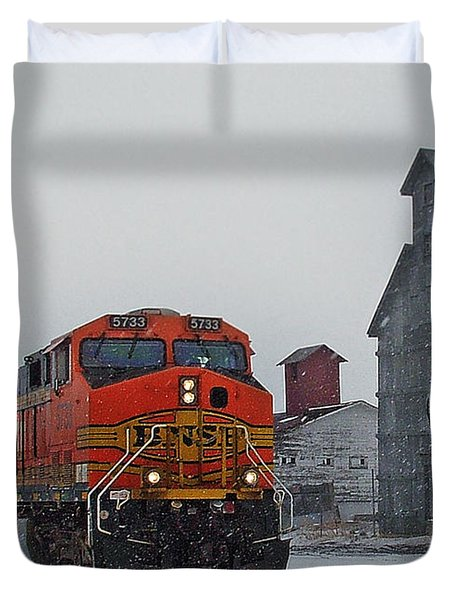 Northbound Winter Coal Drag Duvet Cover by Ken Smith