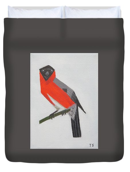 Northern Bullfinch Duvet Cover